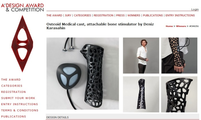 Screenshot of the Page for the Osteoid Medical Cast by by Deniz Karasahin (https://www.adesignaward.com/design.php?ID=34151)