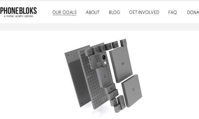 Screenshot of the Official Phonebloks website