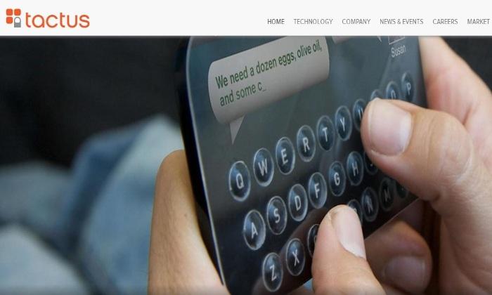 Screenshot of the Official Tactus Technology Website (tactustechnology.com)