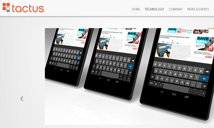 Screenshot of the Official Tactus Technology Website (tactustechnology.com)