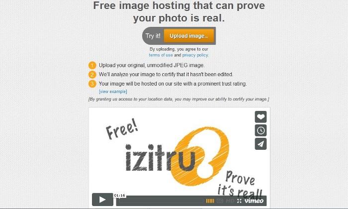 Screenshot from the official Izitru.com website (http://izitru.com)