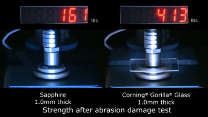 Screenshot of Corning's Gorilla Glass vs Sapphire Glass Video Presentation (http://www.corninggorillaglass.com/gorilla-channel/Corning%C2%AE-Gorilla%C2%AE-Glass-vs.-Sapphire)