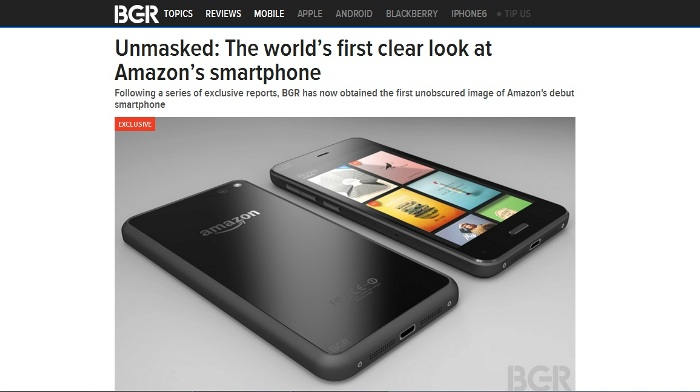 Screenshot of BGR's article showing a leaked image of Amazon's smartphone (http://bgr.com)
