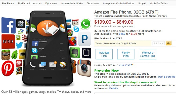 Screenshot of the Amazon Fire phone page on Amazon.com