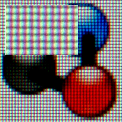 Enlarged view of the LCD color display of Image:Tablet HP TC-1100.jpg showing the pixel RGB arrangement. Based on Image:Nuvola apps kalzium.png, which is LGPL. [public domain]