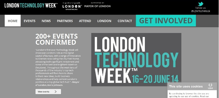 Cropped screenshot of the official London Technology Week website (http://londontechnologyweek.co.uk/)