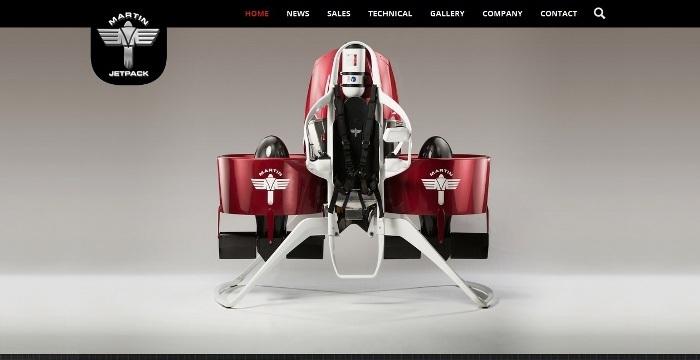 Screenshot of the official Martin Jetpack website (http://www.martinjetpack.com/)