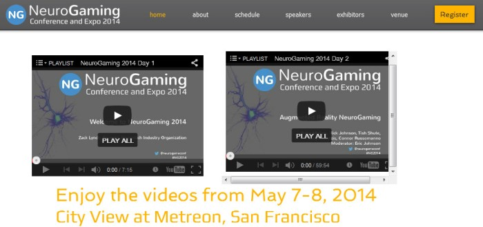 Screenshot of the official NeuroGaming Conference website (http://www.neurogamingconf.com/)