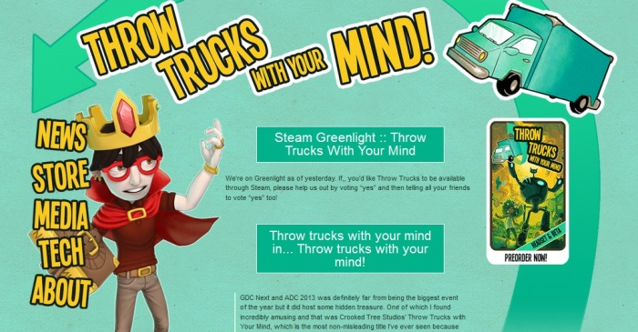 Screenshot of the official Throw Trucks with Your Mind website (http://www.throwtrucks.com/)