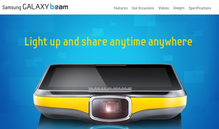 Screenshot of the official Samsung Galaxy Beam page (http://www.samsung.com/global/microsite/galaxybeam/)