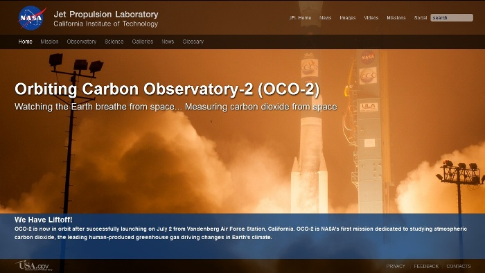 Screenshot from the official OCO-2 website (http://oco.jpl.nasa.gov/)