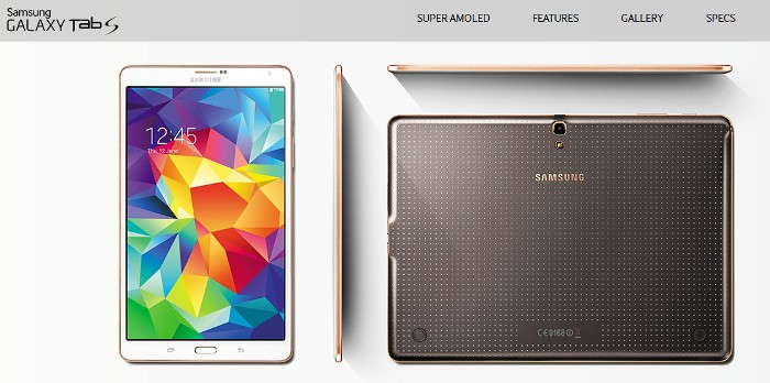 Cropped screenshot from the official Samsung Galaxy Tab S microsite (http://www.samsung.com/global/microsite/galaxytabs/)