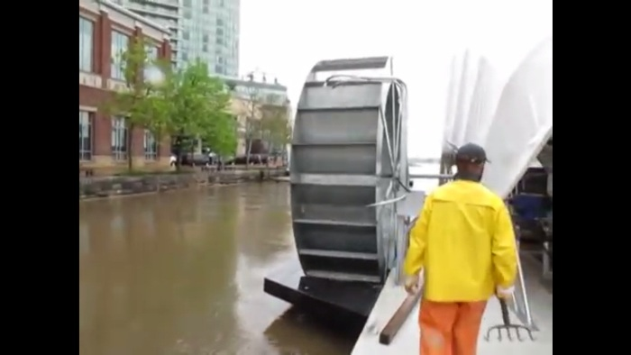 Screenshot from the Inner Harbor Water Wheel promo video posted on YouTube, embedded on the Healthy Harbor website (http://www.healthyharborbaltimore.org/whats-happening-now/water-wheel)
