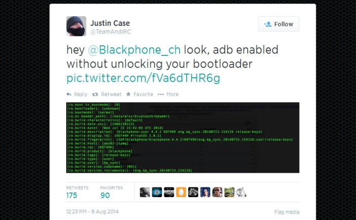 Screenshot of the Justin Case's tweet on the Blackphone hacking