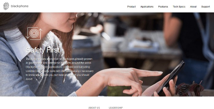 Screenshot of the Blackphone official website (https://www.blackphone.ch/)