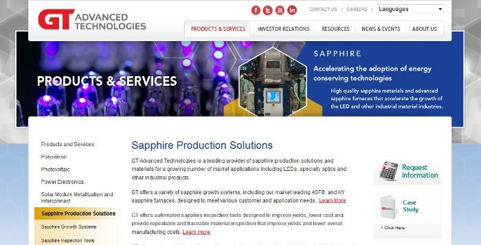 Screenshot of the GT Advanced Technologies website (http://www.gtat.com)