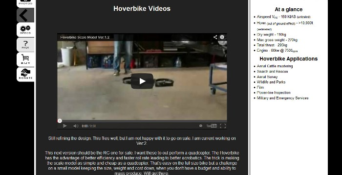 Screenshot of the video gallery of the official Hoverbike website (http://www.hover-bike.com/)