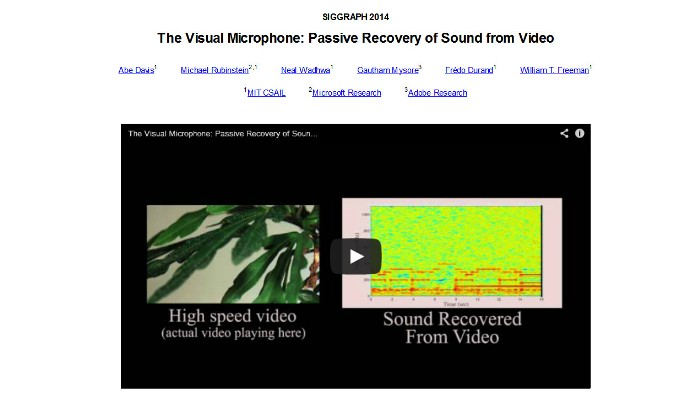 Cropped screenshot of the visual microphone project's official web page (Screenshot of the visual microphone project's info video (http://people.csail.mit.edu/mrub/VisualMic/))