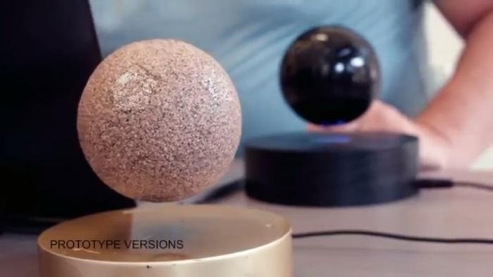 Screenshot of the OM/ONE floating speaker promo video (https://omone.tilt.com/om-one/)