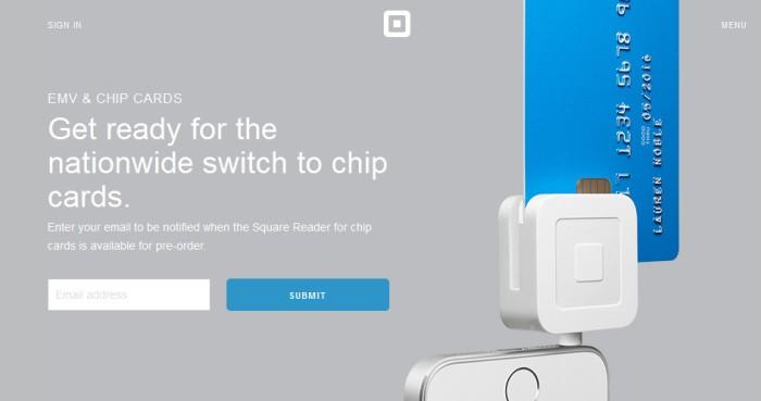 Cropped screenshot of the official Square EMV website (https://squareup.com/emv)