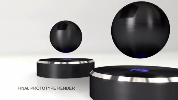 Screenshot of the OM/ONE floating speaker promo video (https://omone.tilt.com/om-one/)