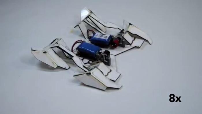 Screenshot of the video featuring Harvard University's origami robot (www.seas.harvard.edu/news/2014/08/robot-folds-itself-up-and-walks-away)