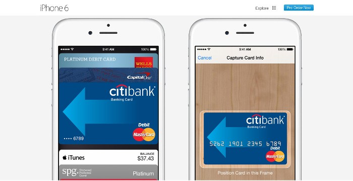 Screenshot of the official Apple Pay web page (https://www.apple.com/iphone-6/apple-pay/)