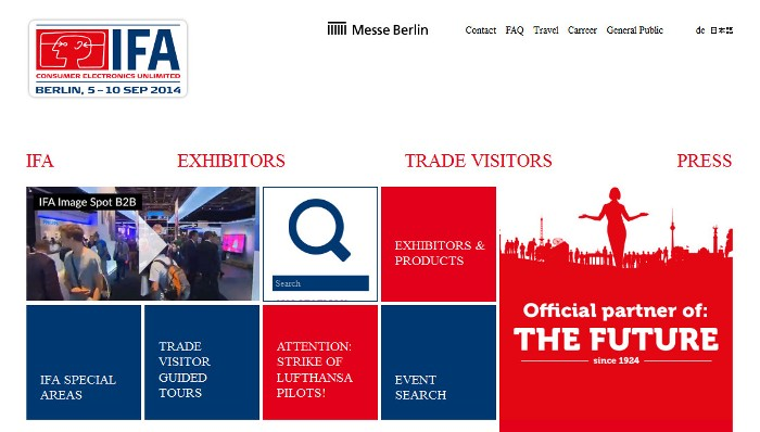 Screenshot of the official IFA 2014 website (http://b2b.ifa-berlin.com/)