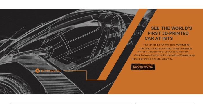 Screenshot of the official Local Motors website - 3D Printed Car page
