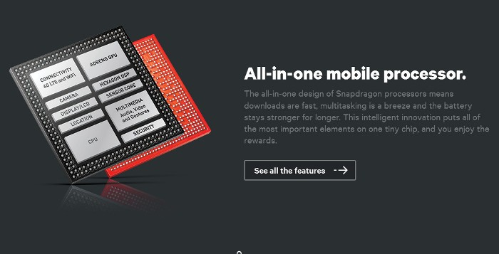 Screenshot of the official Qualcomm Snapdragon page