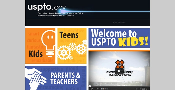 Screenshot of the official USPTO Kids website (http://www.uspto.gov/kids/)