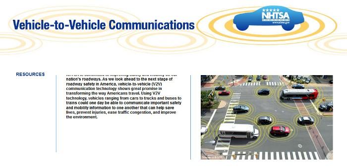 Screenshot of the SaferCar.gov V2V web page (http://www.safercar.gov/v2v/index.html)