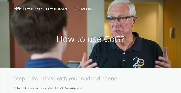 Screenshot of the official Captioning on Glass app website (http://cog.gatech.edu/)