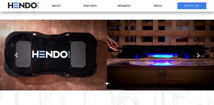 Screenshot of the official Hendohover.com website.