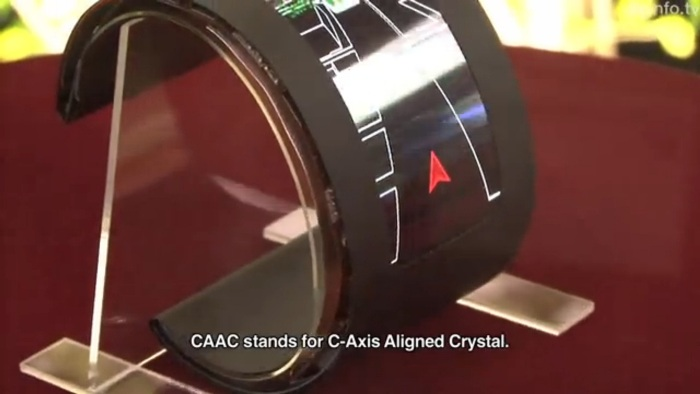 Screenshot of DigInfo TV's report on Semiconductor Energy Laboratory's foldable OLED display posted on YouTube.