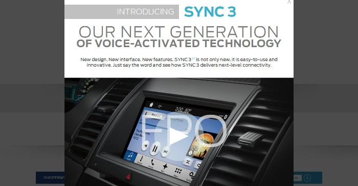 Screenshot of the official Ford Sync page (http://www.ford.com/technology/sync/#)
