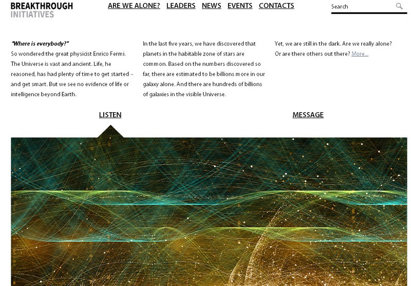 Image credit: Screenshot of the official Breakthrough Initiatives website