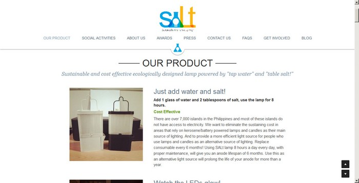 Image credit: Sustainable Alternative Lighting (SALt.ph), website screenshot