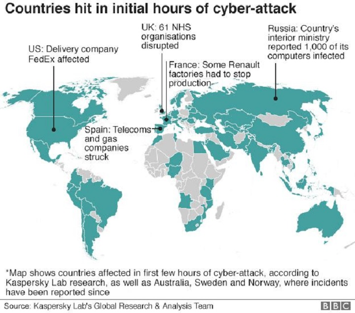 Important targets hit. Image Source: Kaspersky via BBC