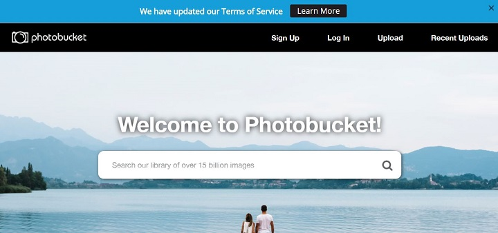 Photobucket front page with ToS update (Image Source: Photobucket)
