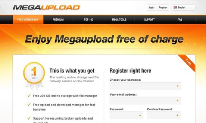 Megaupload's registration page (Image Source: techhive.com)