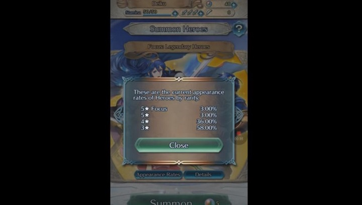 Fire Emblem Heroes, a 'gacha' game, displaying the 'rates' of obtainable characters that can be drawn from the lottery. (Image Source: youtube)