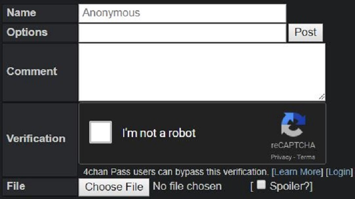 Example of a Captcha required before posting. (Image Source: 4chan)
