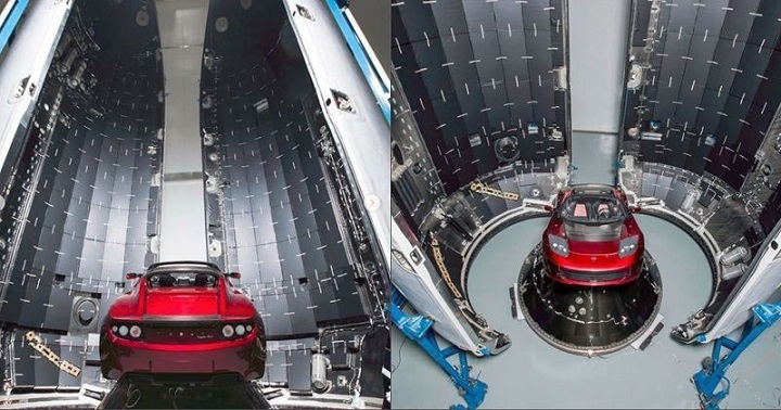 The capsule that houses the Roadster during preparations (Image Source: Indiana Times)